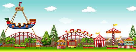 Amusement park with many rides illustration Ilustracja
