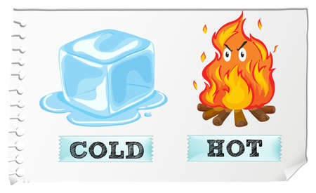 and opposite: Opposite adjectives with cold and hot illustration