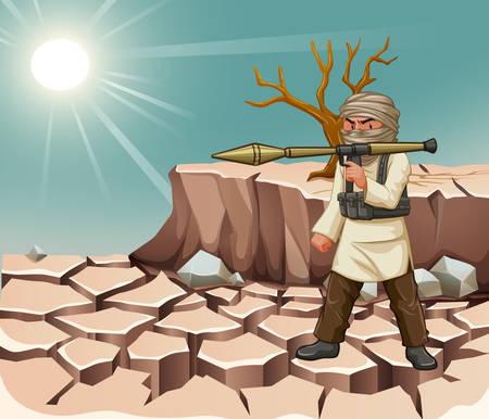 daytime: Terrorist carrying bazooka at daytime illustration