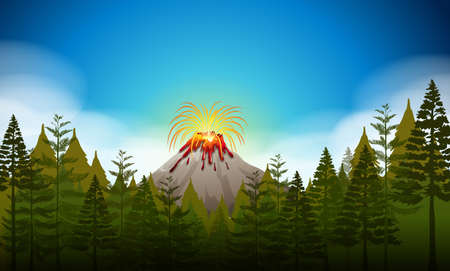 volcano mountain erupting: Volcano eruption scene at daytime illustration