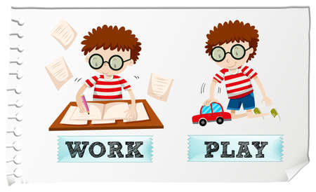 opposite: Opposite adjectives with boy working and playing illustration Illustration