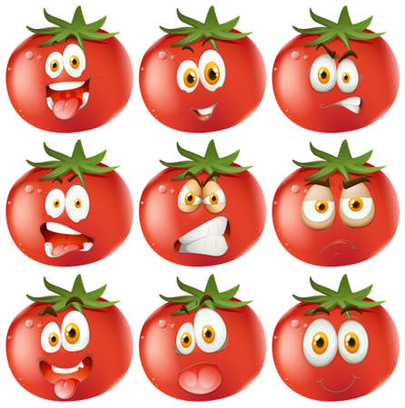 tomatoes: Fresh tomato with facial expressions illustration