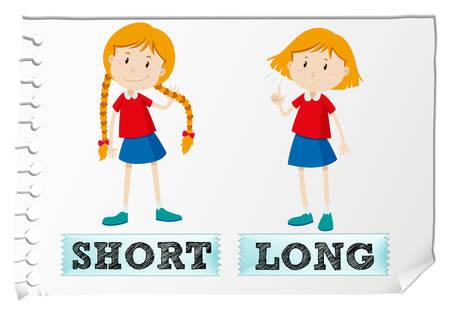 反対の短い形容詞および長いイラスト