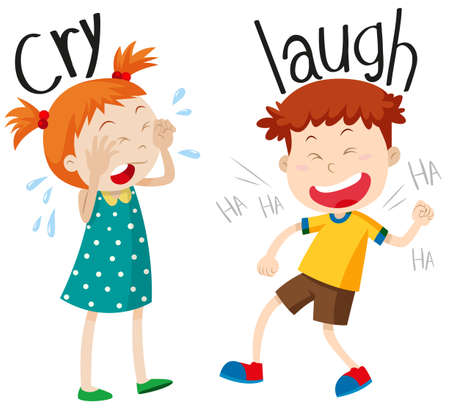 fille pleure: adjectifs face pleurent et rient illustration