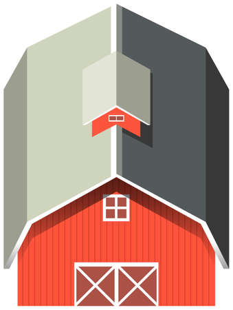 red barn: Red barn with gray roof illustration