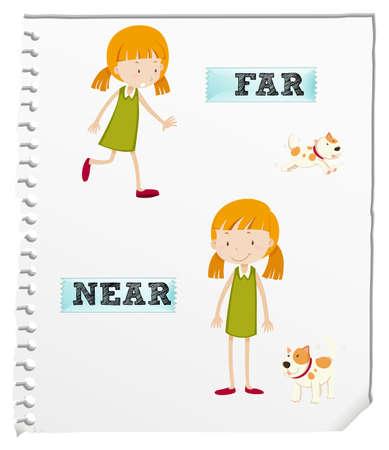 lejos: adjetivos opuestos a lo largo y cerca de la ilustración Vectores