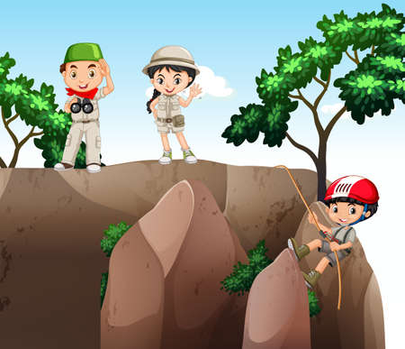 climbing up: Girl and boys climbing up the mountain illustration Illustration
