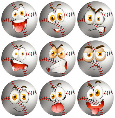 facial   expression: Baseball with facial expression illustration