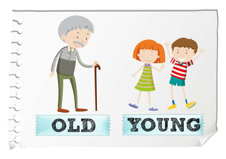old english: Opposite adjectives with old and young illustration