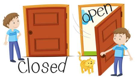 닫힌 및 열린 문 그림으로 남자