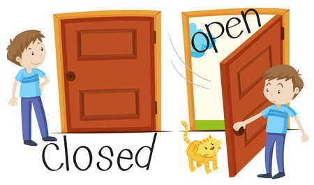 closed door: Man by closed and opened door illustration