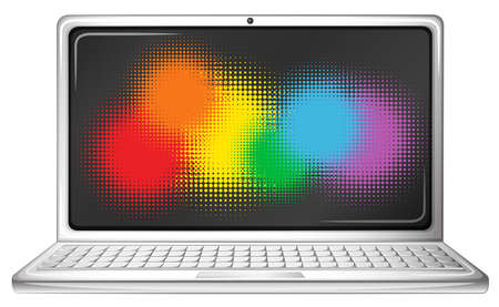 transgender: Computer laptop with rainbow screen illustration