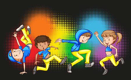 baile hip hop: Niños que hacen hip hop ilustración de baile Vectores