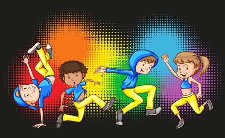 Children doing hip hop dance illustration