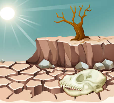 drought: Natural disaster with drought illustration