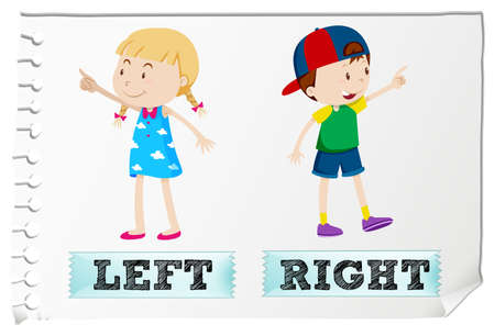 adjective: Opposite adjectives left and right illustration Illustration