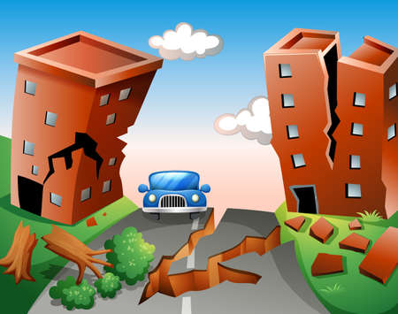 Escena del terremoto en la ilustración de la ciudad Foto de archivo - 49391580