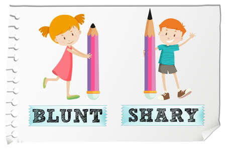 adjective: Opposite adjectives blunt and sharp illustration Illustration