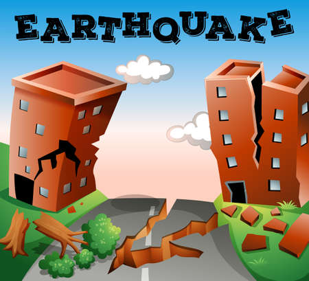 cartoon earth: Natural disaster scene of earthquake illustration