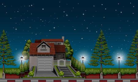 夜の図では、道路で家