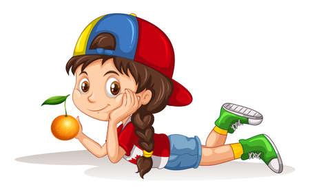 girl illustration: Little girl and fresh orange illustration Illustration