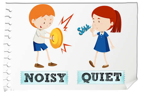 adjective: Opposite adjectives with noisy and quiet illustration
