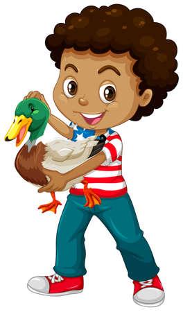 african american boy: African american boy holding a duck illustration