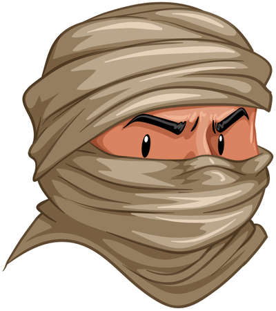 human eye close up: Terrorist covered his face with cloth illustration