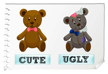 Opposite adjectives with cute and ugly illustration
