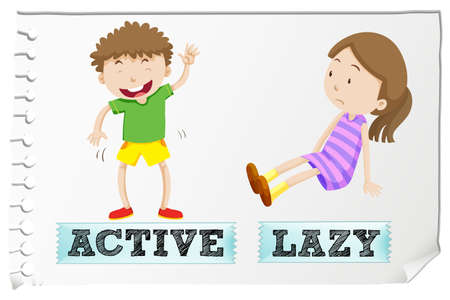opposites: Opposite adjectives active and lazy illustration