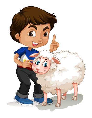 pecora: Ragazzino e pecore illustrazione