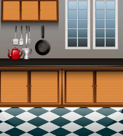 kitchen counter: Kitchen with wooden cabinet illustration