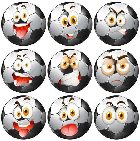 pelota de futbol: Balón de fútbol con las expresiones faciales ilustración