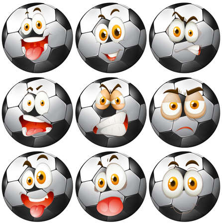 ballon foot: Soccer ball avec des expressions faciales illustration Illustration