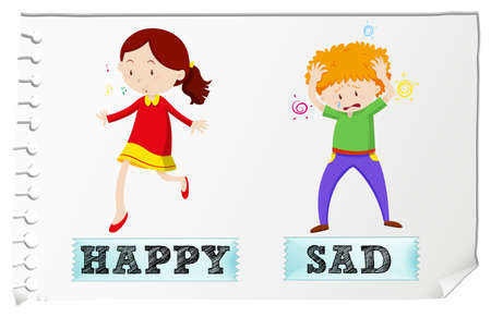 little boy and girl: Opposite adjectives happy and sad illustration