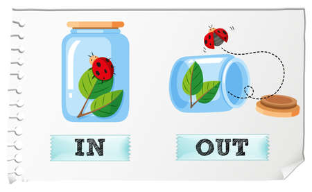 Opposite adjectives with in and out illustration Illustration