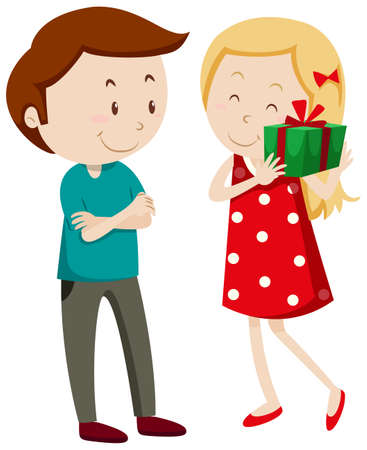 getting: Girl getting a gift illustration