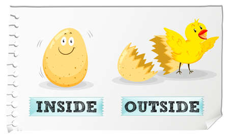 adjectives: Opposite adjectives inside and outside illustration