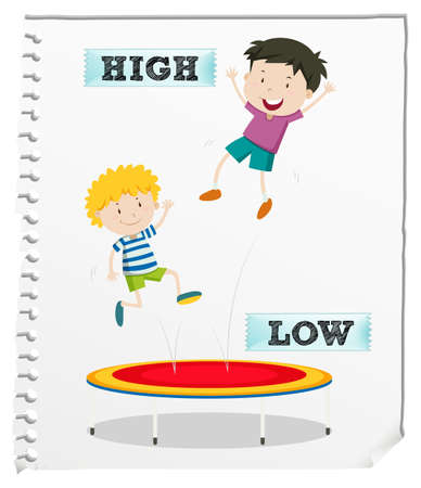 low: Opposite adjectives high and low illustration