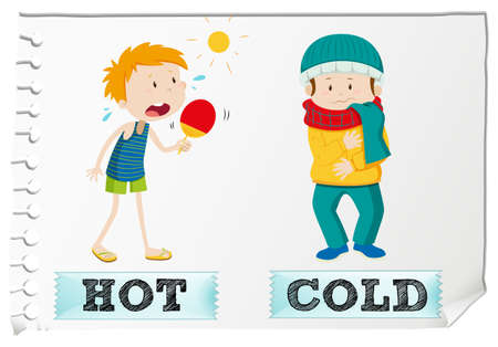 and opposite: Opposite adjectives hot and cold illustration