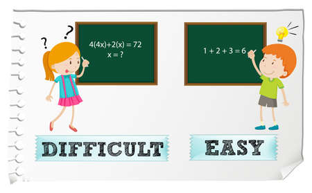Opposite adjectives difficult and easy illustration Çizim