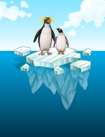 Penguins standing on thin ice illustration