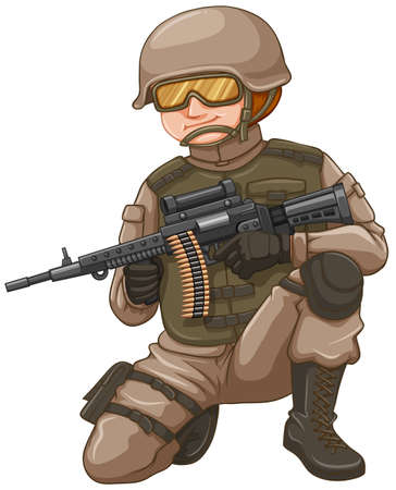 dangerous work: Soldier with rifle gun illustration