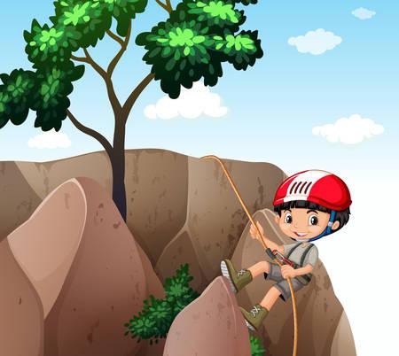 climbing up: Boy climbing up the cliff illustration