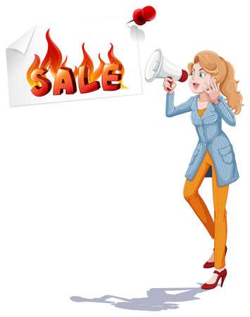 announcing: Girl with speaker announcing sale illustration Illustration