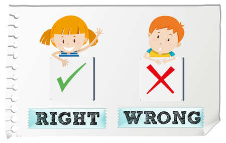 adjectives: Opposite adjectives right and wrong illustration