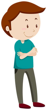 standing man: Man standing with his arms folded illustration Illustration