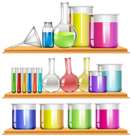 beakers: Lab equipment filled with chemical illustration