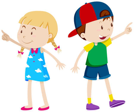 Girl pointing left and boy pointing right illustration