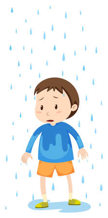 soak: Boy standing in the rain illustration Illustration